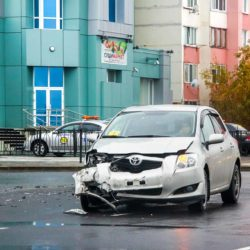 Novyy Urengoy, Russia - September 9, 2015: Crashed motor car Toyota Auris is situated in the city street.